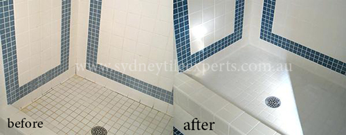 before and after Shower Regrouting Tile floor