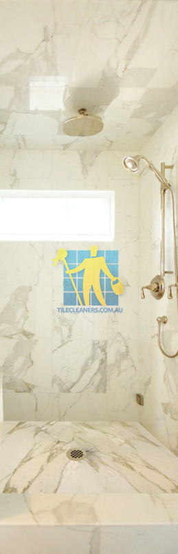 marble tiles shower wall floor calcutta polished luxury bathroom Northern Beaches