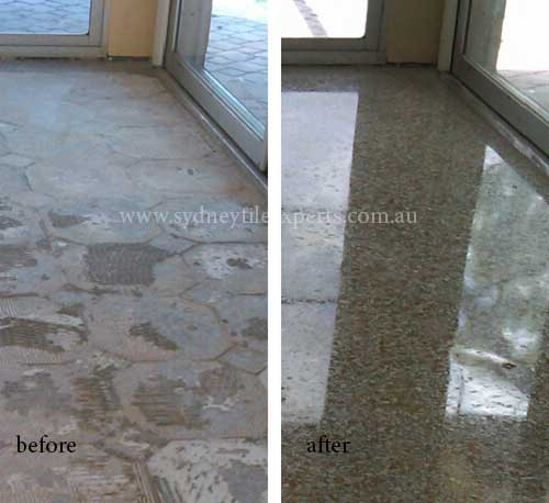 before and after Stripping granite tile