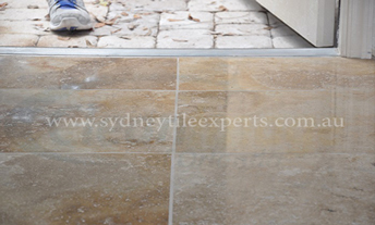 before and after Grinding limestone tile floor