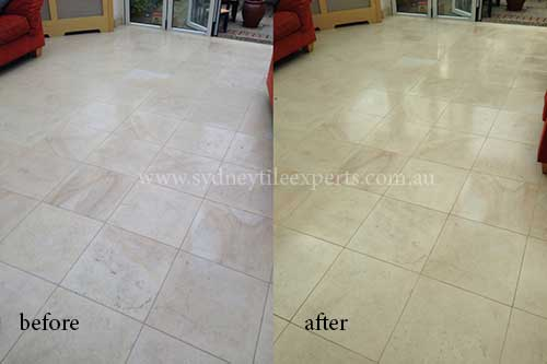 before and after Honing limestone tile