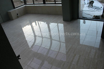 before and after Polishing limestone tile floor