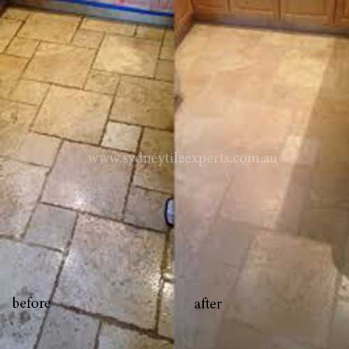 before and after Polishing limestone tile