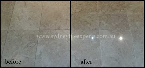 before and after Regrouting limestone tile floor