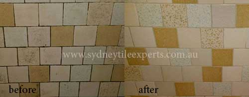 before and Regrouting cleaning limestone