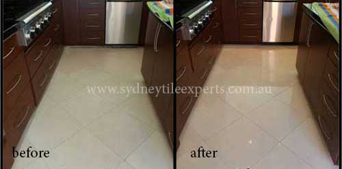 before and after Renewal limestone tile floor