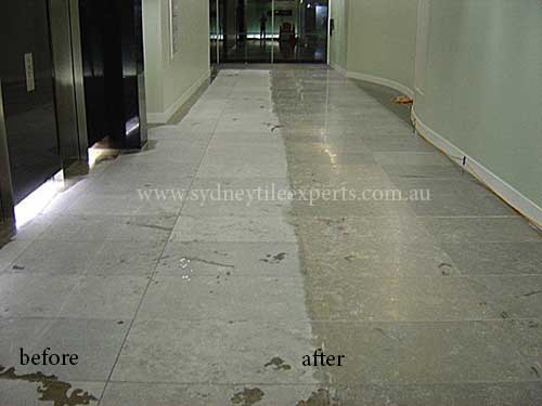 before and after Resurfacing limestone tile floor