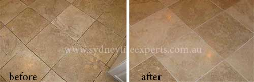 before and after Resurfacing limestone tile