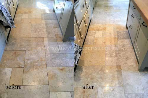 before and after Stripping limestone tile floor