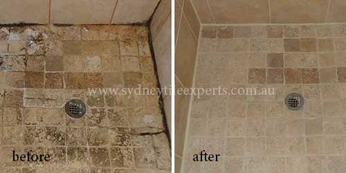before and after Stripping limestone tile