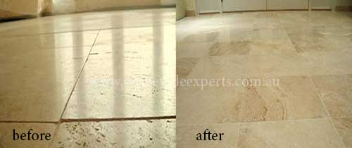 before and after cleaning limestone
