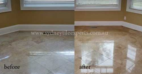 before and after Cleaning marble tile