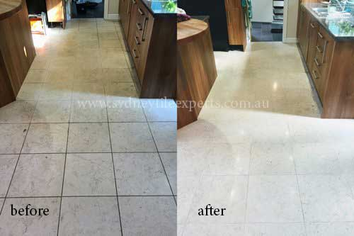 before and after Honing marble tile floor