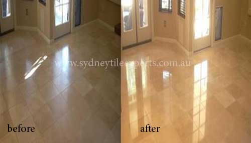 before and after Regrouting marble tile floor