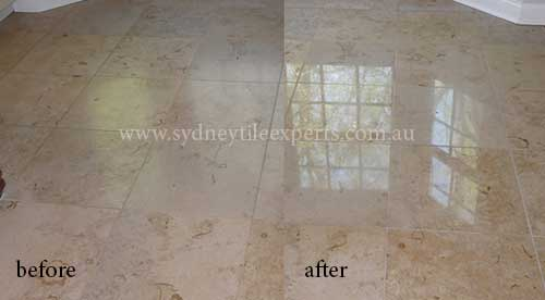 before and after Regrouting marble tile