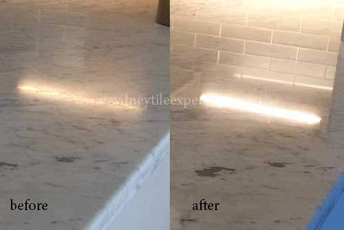 before and after Stripping marble tile