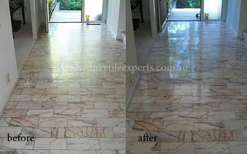 before and after cleaning marble