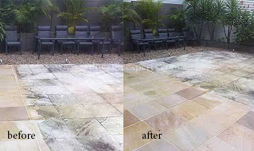 before and after Cleaning sandstone tile floor