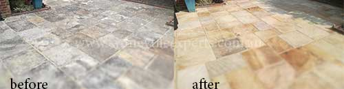 before and after Renewal sandstone tile floor