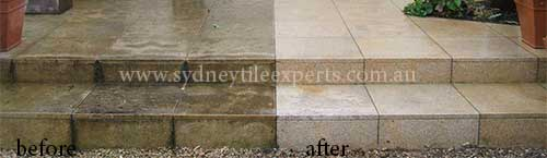 before and after cleaning sandstone