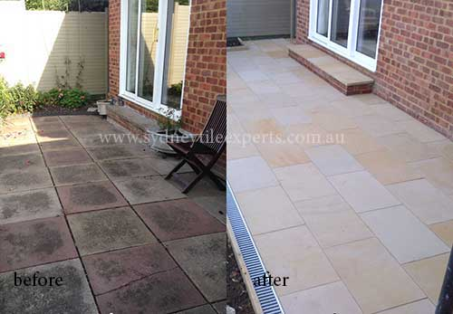 before and after Scratch-Removal sandstone tile