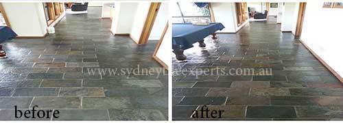 before and after Grouting Slate Tiles service