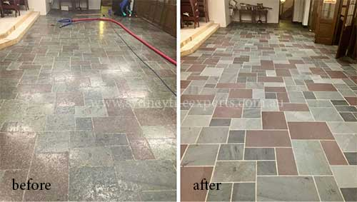 before and after Stripping Slate Floor
