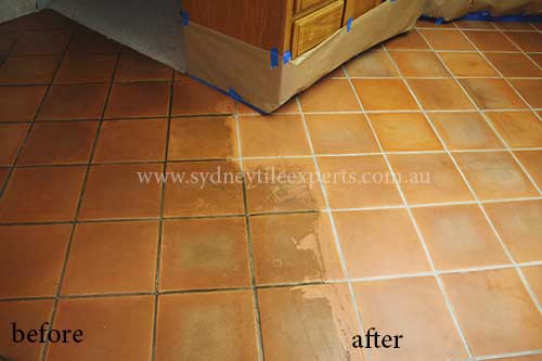 before and after Stripping Slate Tiles Floot
