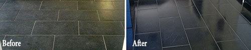 before and after cleaning slate
