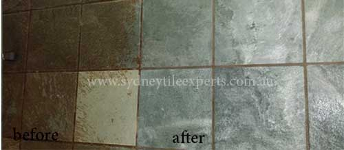 before and after slate regrout service