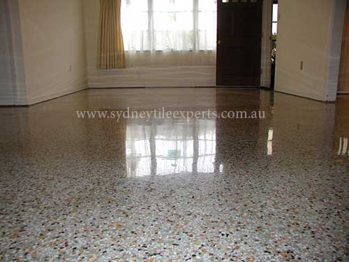 before and after Polishing terrazzo tile floor