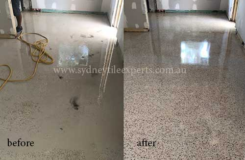 before and after Stripping terrazzo tile floor