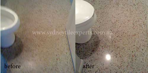 before and after Stripping terrazzo tile