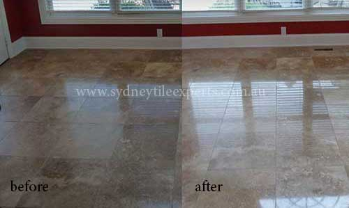 before and after Honing travertine tile floor