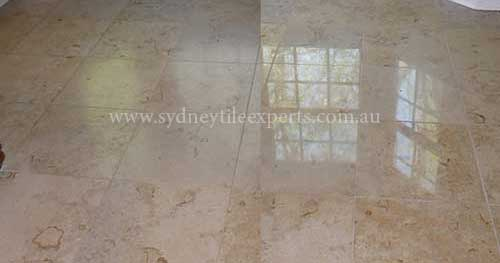 before and after Honing travertine tile