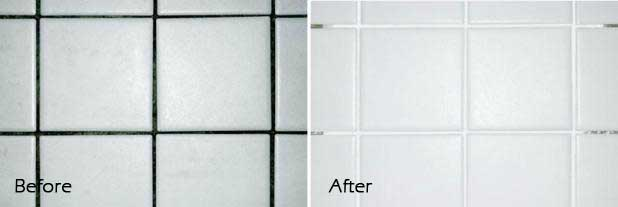 before and after cleaning and sealing grout lines service