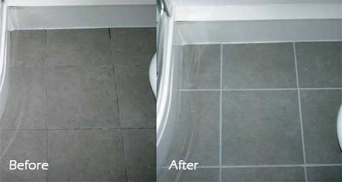before and after cleaning and sealing grout lines