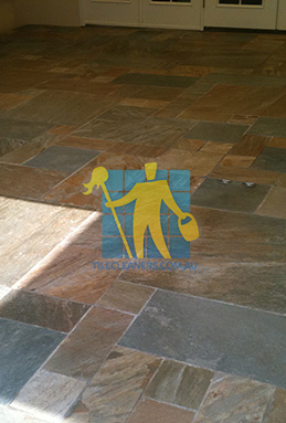clean slate tiles unsealed after stripping and cleaning Sydney cleaning