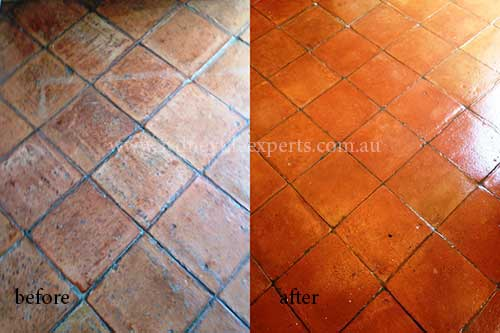 before and after stripping Terracotta tile