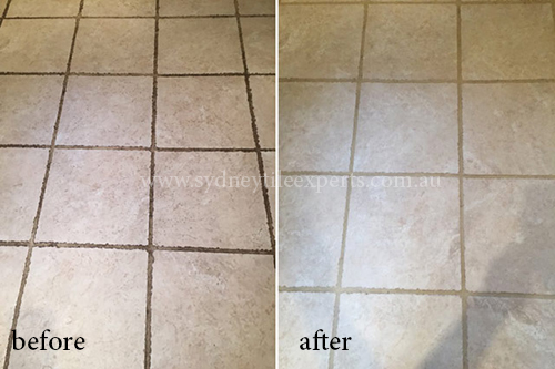 before and after repairing porcelain tile