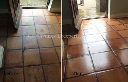 before and after Stripping quarry tile