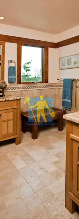 travertine tiles floor bathroom tumbled with mosaic corner wooden cabinets Sydney