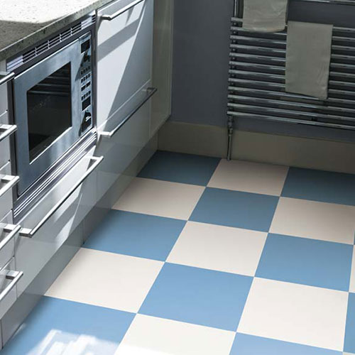 white blue vinyl checkerboard floor